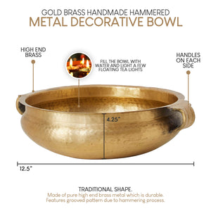 Serene Spaces Living Gold Brass Handmade Hammered Decorative Bowl–3 Size Options
