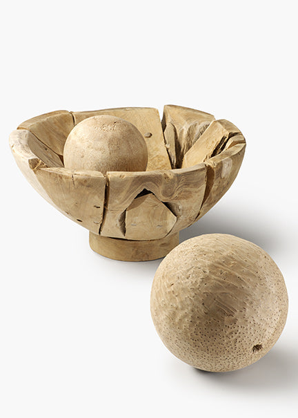 Natural Teak Serving Bowl and Coconut Balls