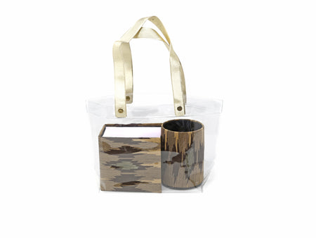 Serene Spaces Living Brocade 2 Piece Gift Set - Pen Holder and Paper Pad in a Gift Bag handmade by CPAA, India