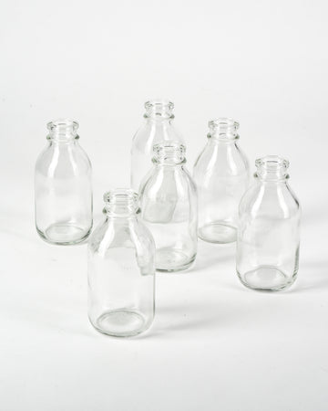 "Serene Spaces Living Glass Milk Bottle Bud Vases – Vintage Milk-Bottle Style Vases - For Home Décor, Event Centerpieces and More, 4.25"" H x 2"" D, Set of 6"