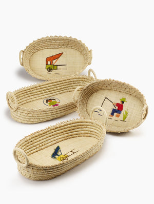 Serene Spaces Living Embroidered Raffia Basket