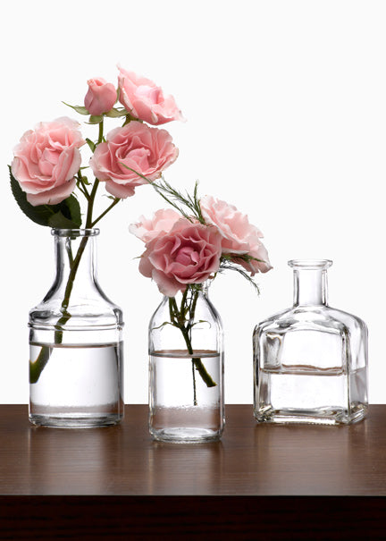 Glass Bottle Bud Vases, Set of 6