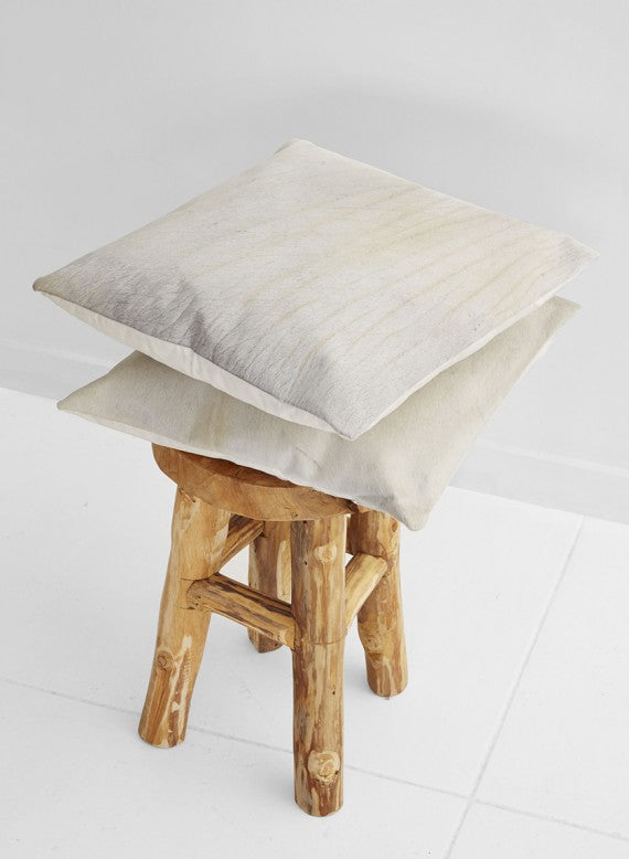 White Cowhide Pillow