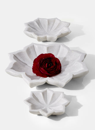 Serene Spaces Living White Marble Floral Dish