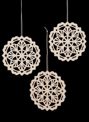 White Laser Cut Snowflake Ornaments, Set of 6