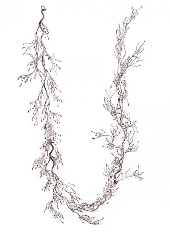 White Snow Garland with Twigs
