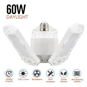 Three-Leaf Foldable LED Garage Light, 360-Degree Deformable Ceiling Light (60W 6000 Lumens)