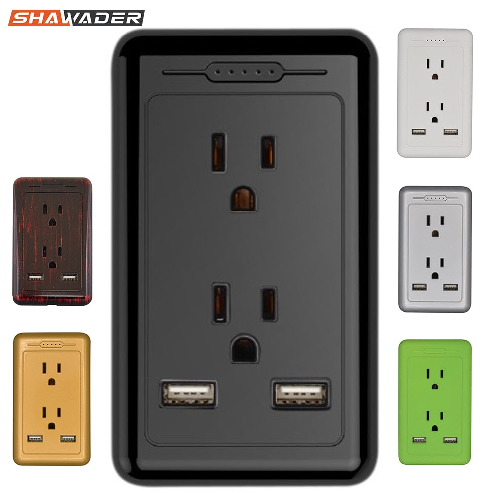 Outlet with Dual USB Charger Electrical Socket 15A Tamper Resistant Duplex Receptacle