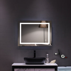 "32""x 24"" Square Wall Mounted LED Lighted Bathroom Mirror With Touch Switch"