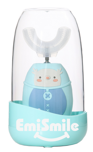 EmiSmile Teal Elk Self Sanitizing Toothbrush . Great for ages 2-12