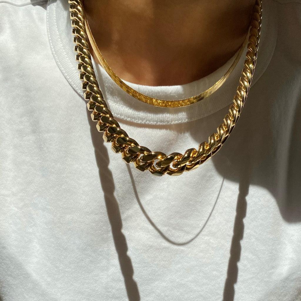 Anisa Sojka Gold Dainty Snake Necklace and Chunky Chain Necklace