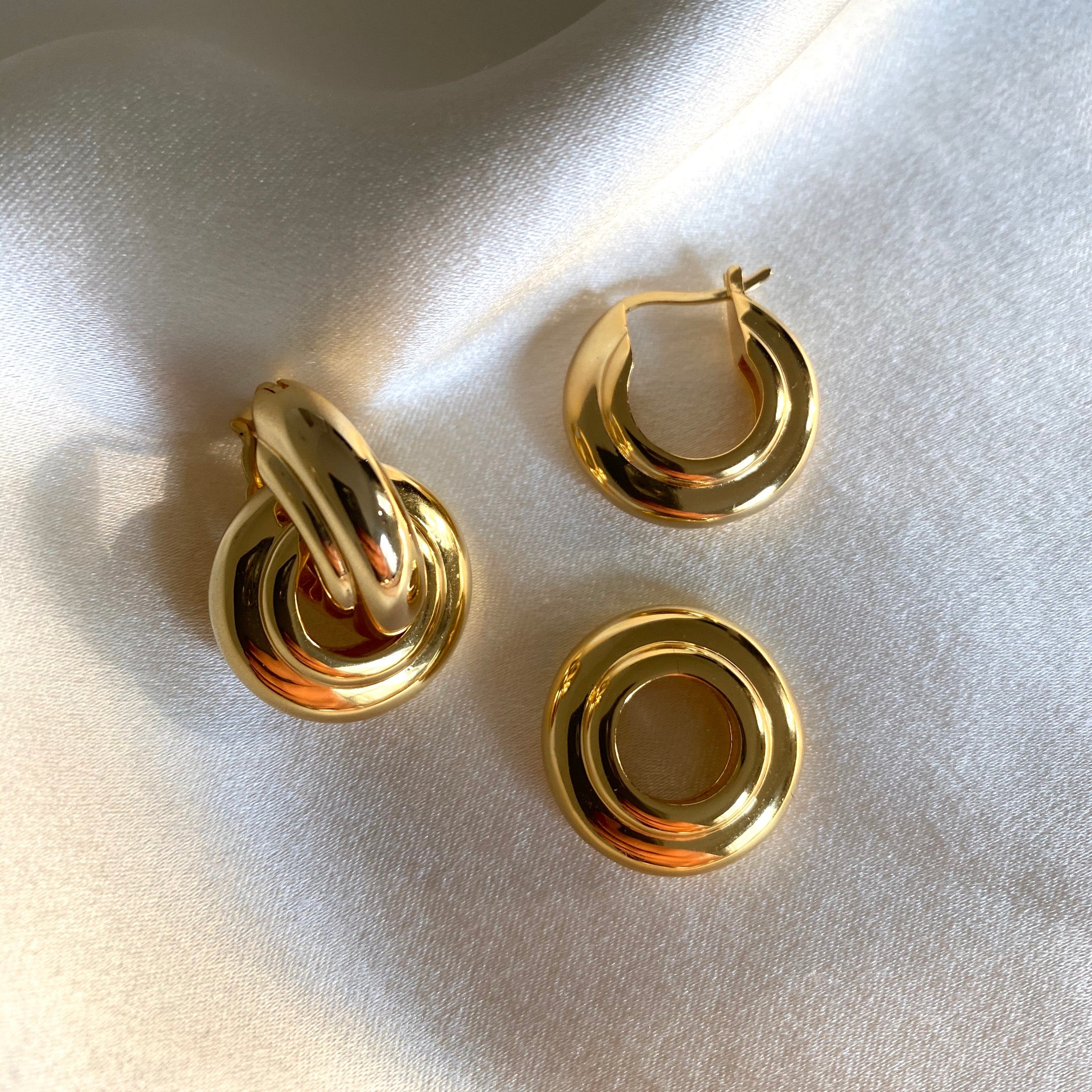 Anisa Sojka Gold Hoop Interlocking Drop Earrings