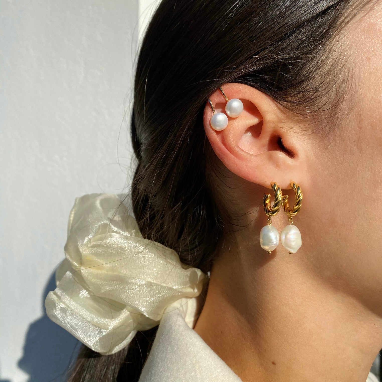 Anisa Sojka Freshwater Pearl Twisted Hoops and Ear Cuffs