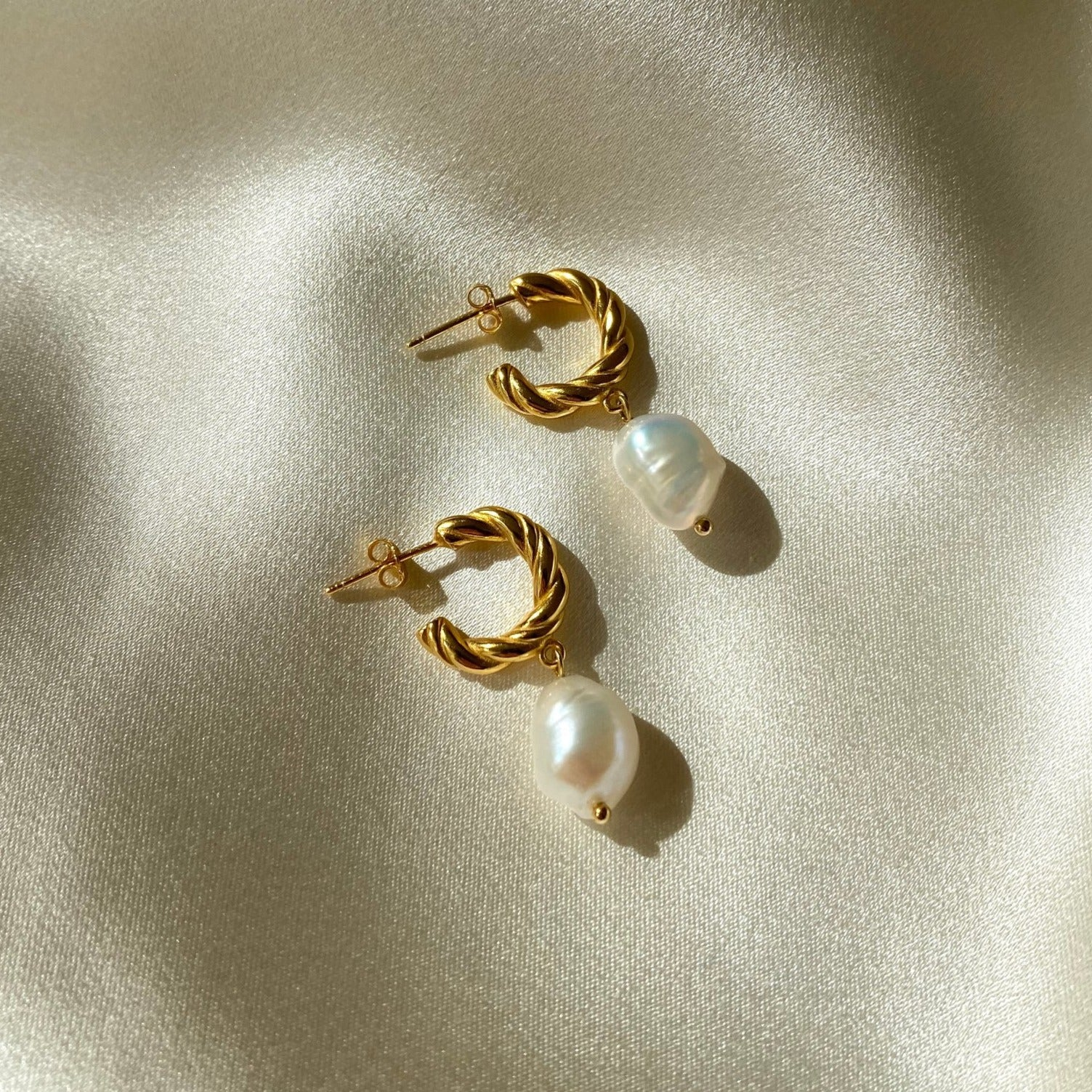 Anisa Sojka Gold Freshwater Pearl Drop Earrings
