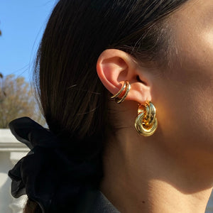 Anisa Sojka Gold Interlocking Hoop Earrings and Chubby Ear Cuffs