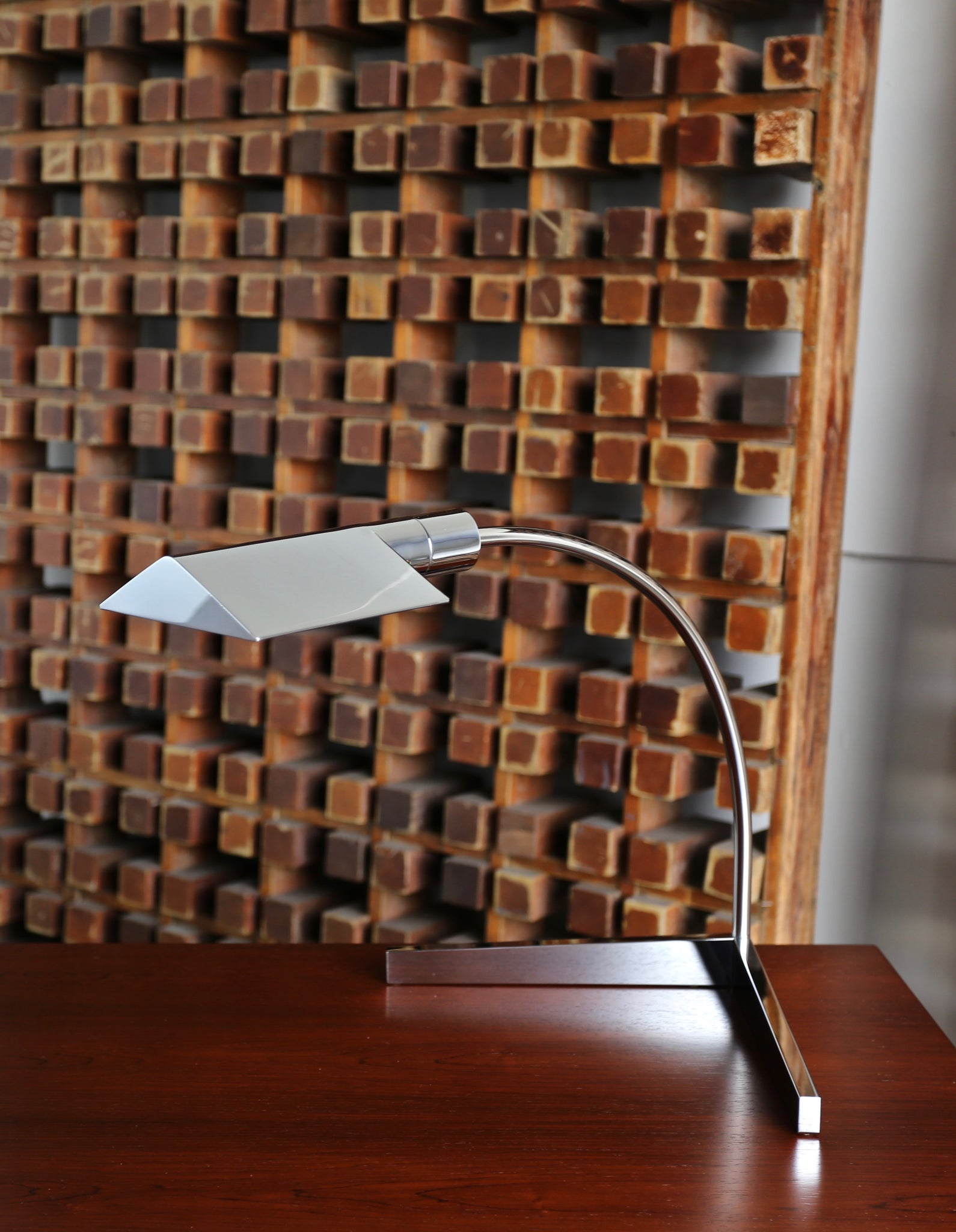 Cedric Hartman Chrome Table Lamp, circa 1975