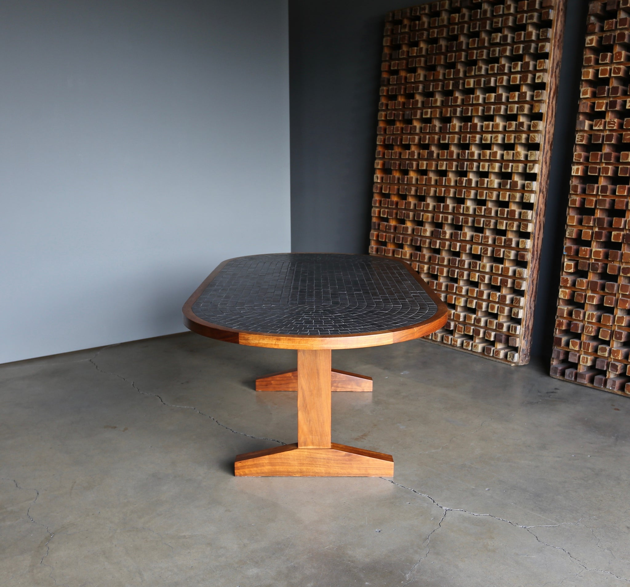 = SOLD = Gordon and Jane Martz Tile Top Dining / Game Table circa 1960