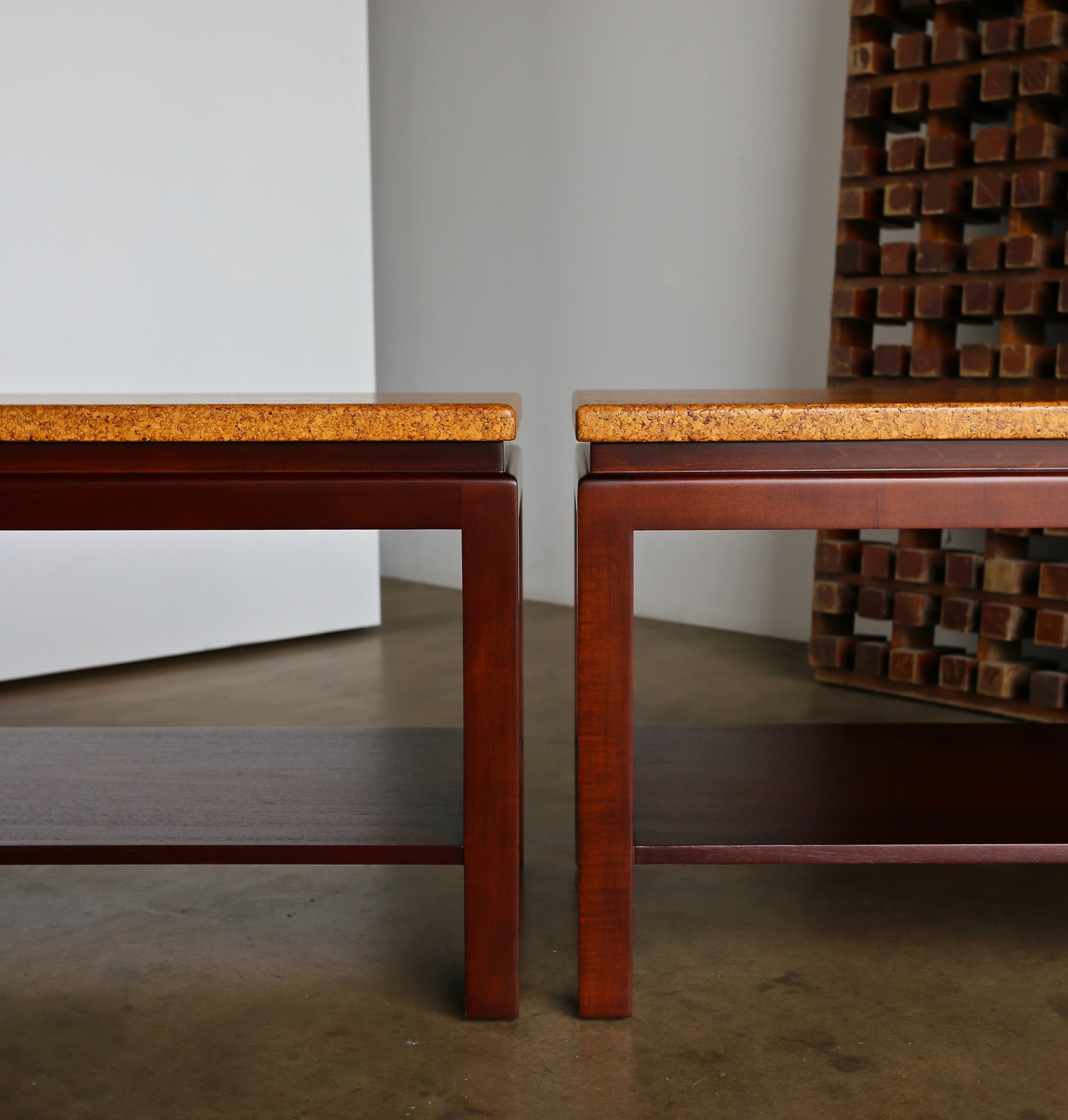 Paul Frankl Cork Top End Tables for Johnson Furniture circa 1950
