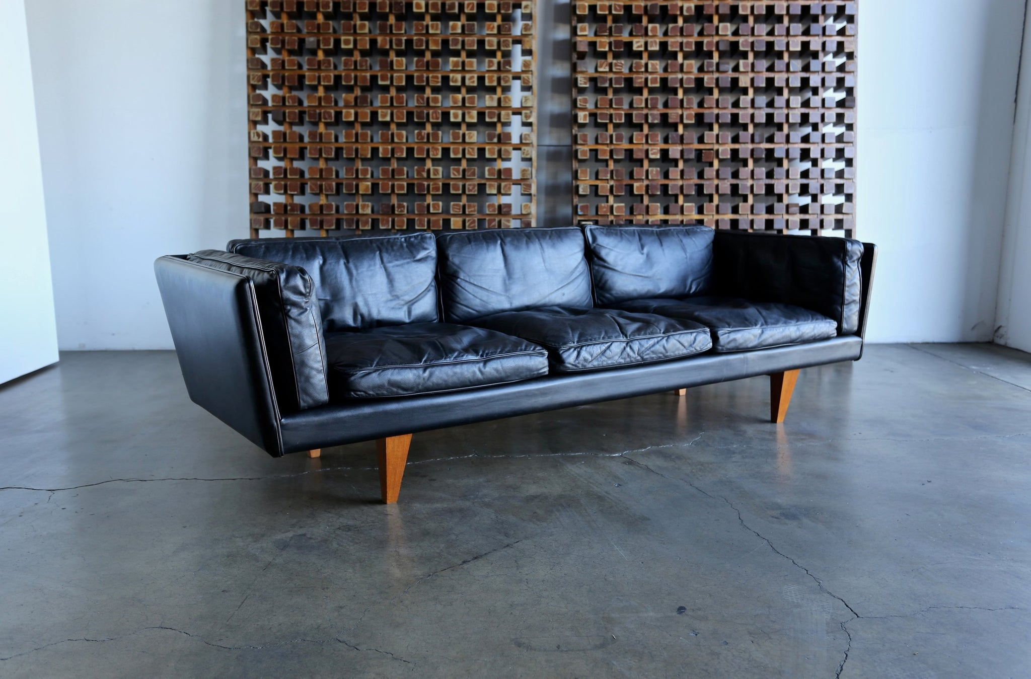 = SOLD = Original Black Leather Sofa by Illum Wikkelsø