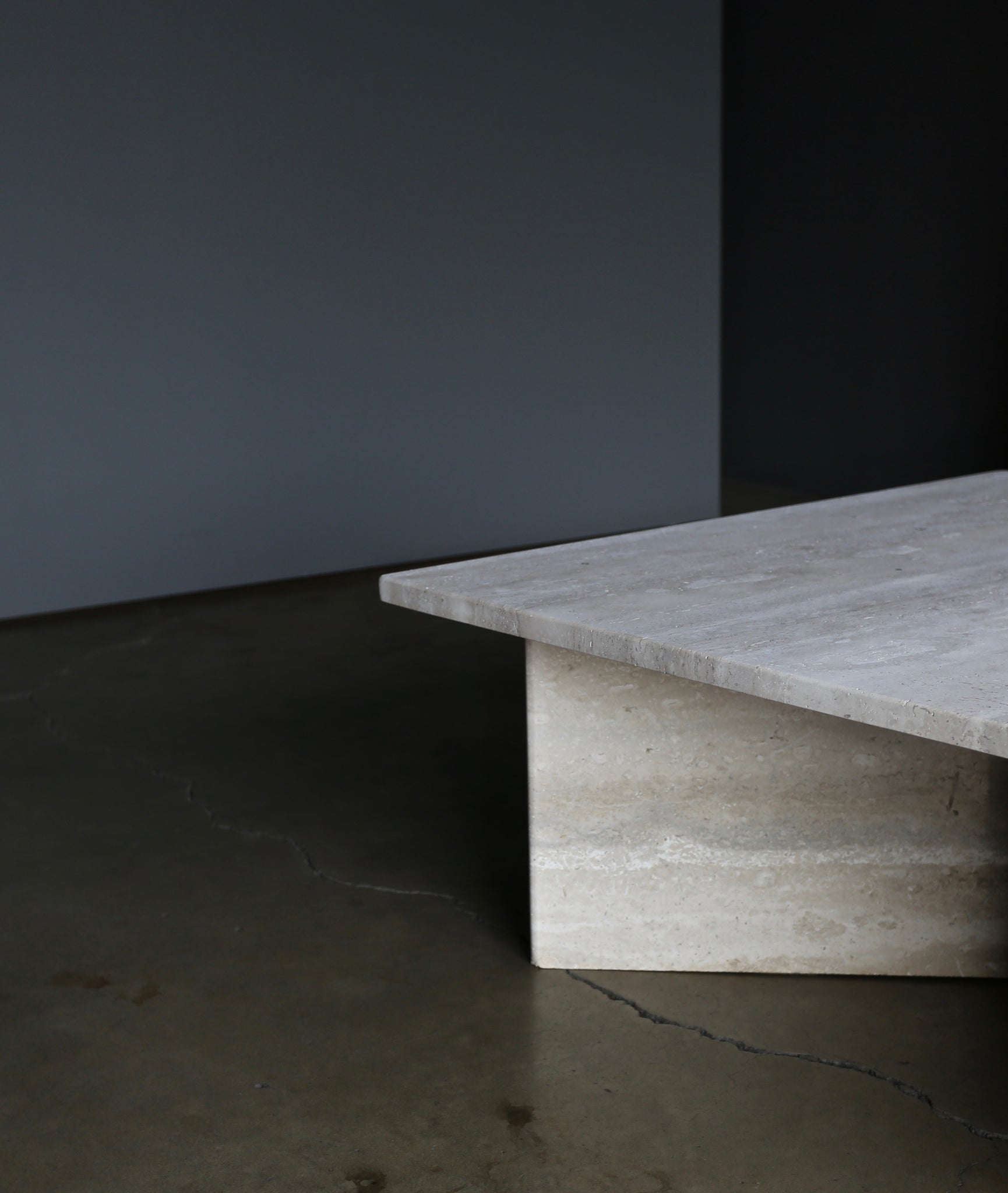 = SOLD = Tiered Two-Piece Travertine Coffee Table, circa 1980