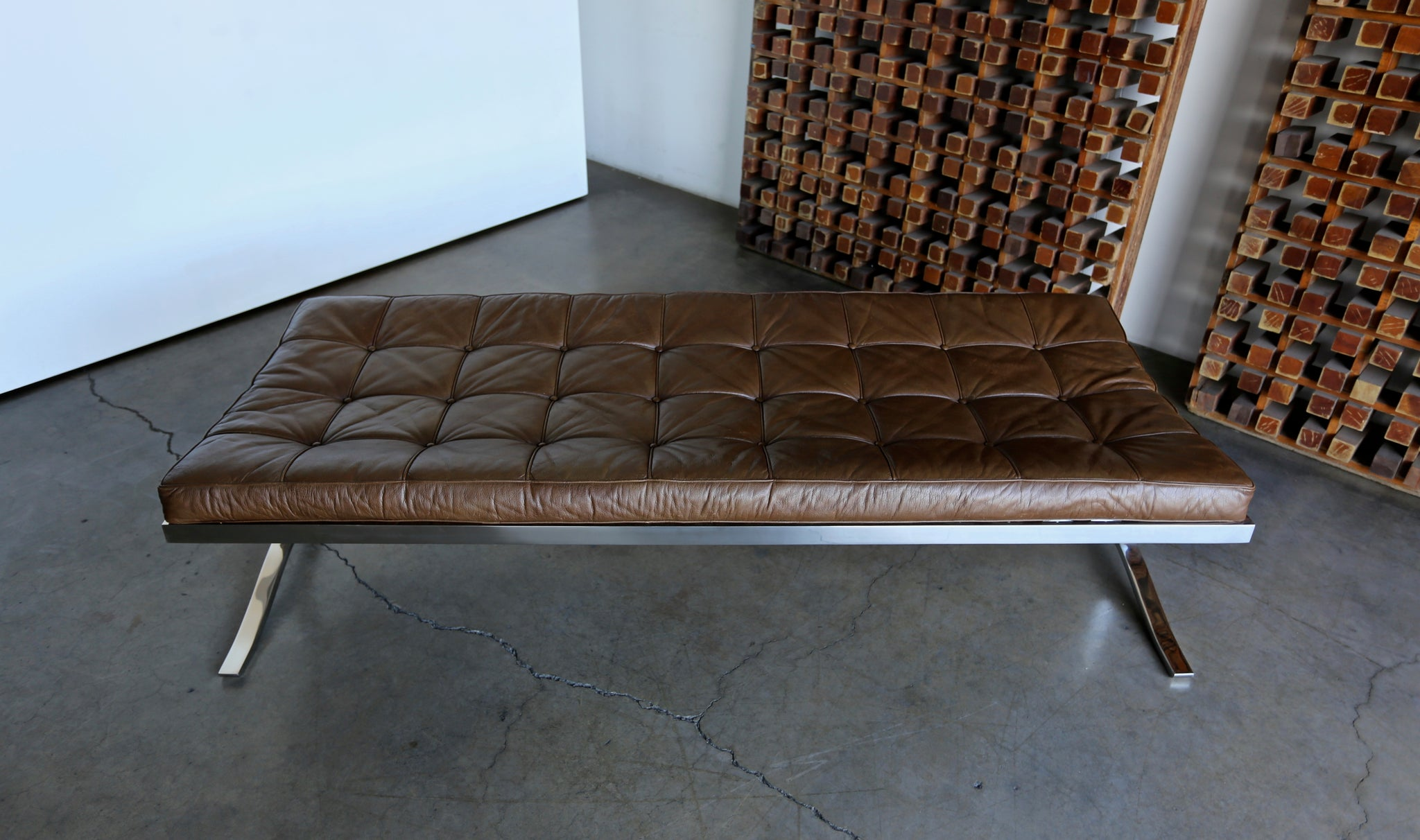 Nico Zographos Leather & Stainless Steel Bench circa 1975