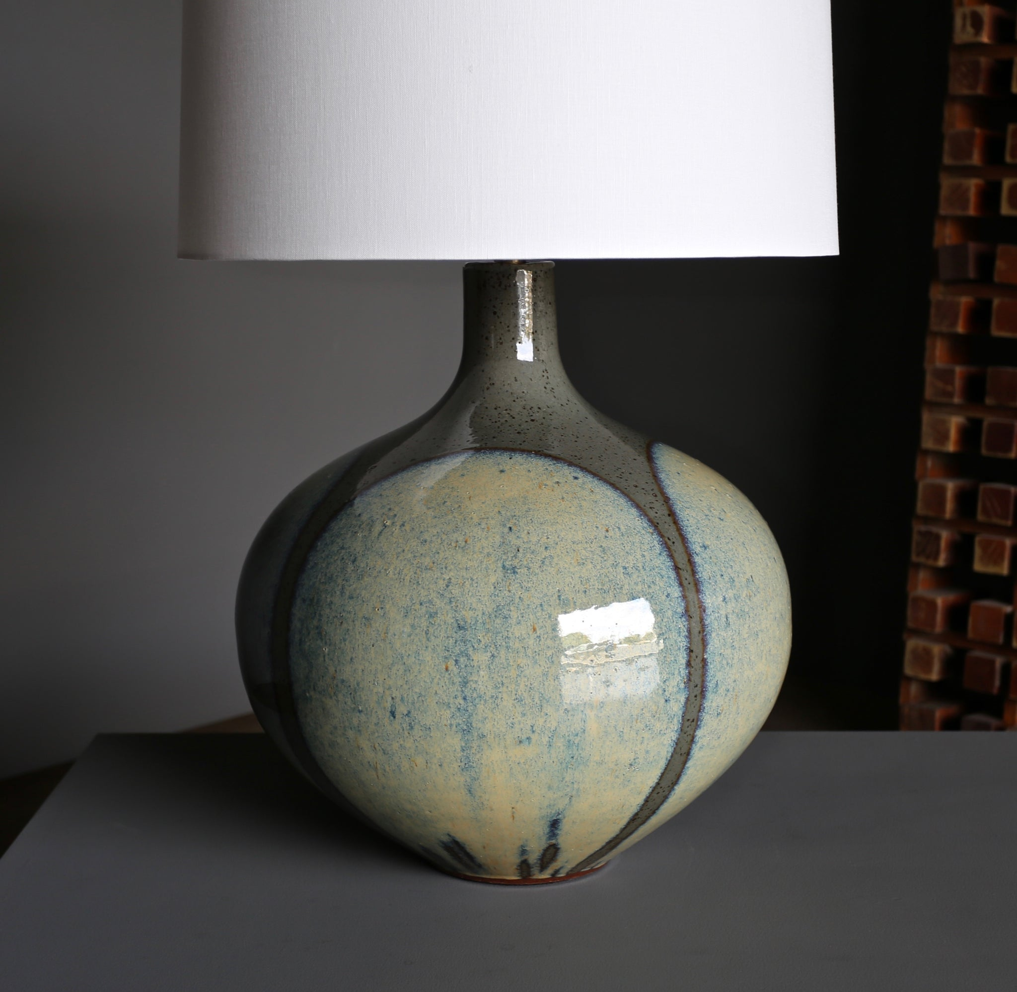 "Large Scale David Cressey ""Flame Glaze"" Ceramic Lamp circa 1970"