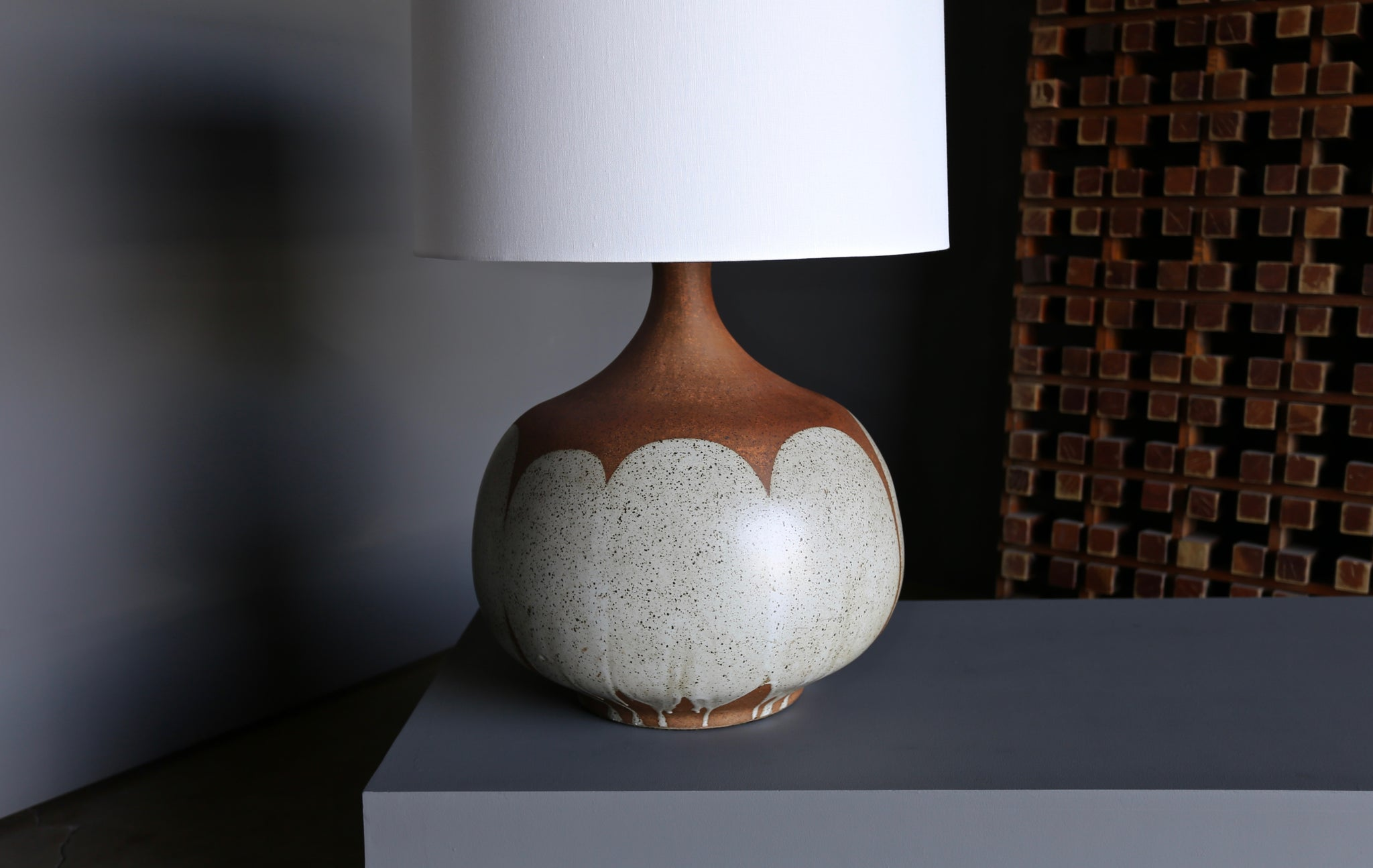 "= SOLD = Large Scale David Cressey ""Flame Glaze"" Ceramic Lamp circa 1970"