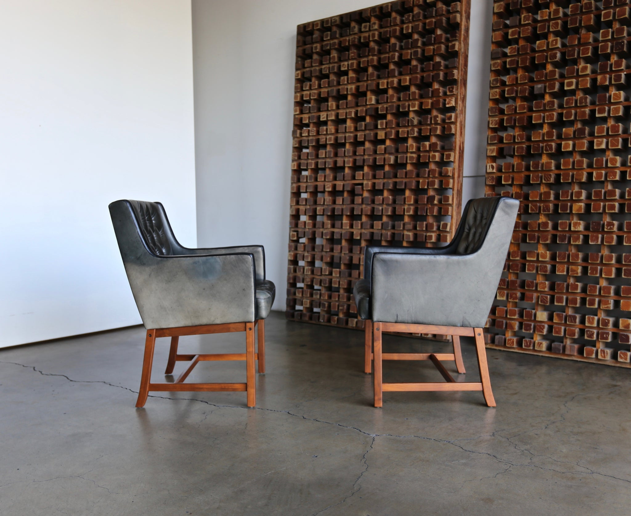 Karl Erik Ekselius Tufted Leather Chairs for JOC, circa 1960