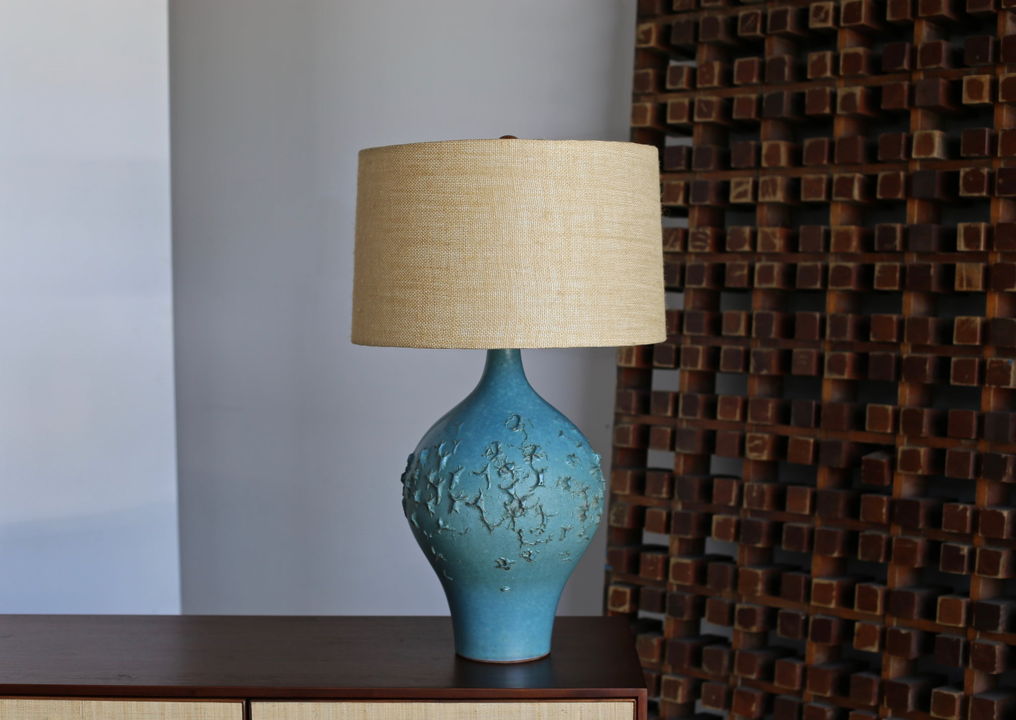 = SOLD = Lee Rosen for Design Technics Blue Ceramic Lamp circa 1960
