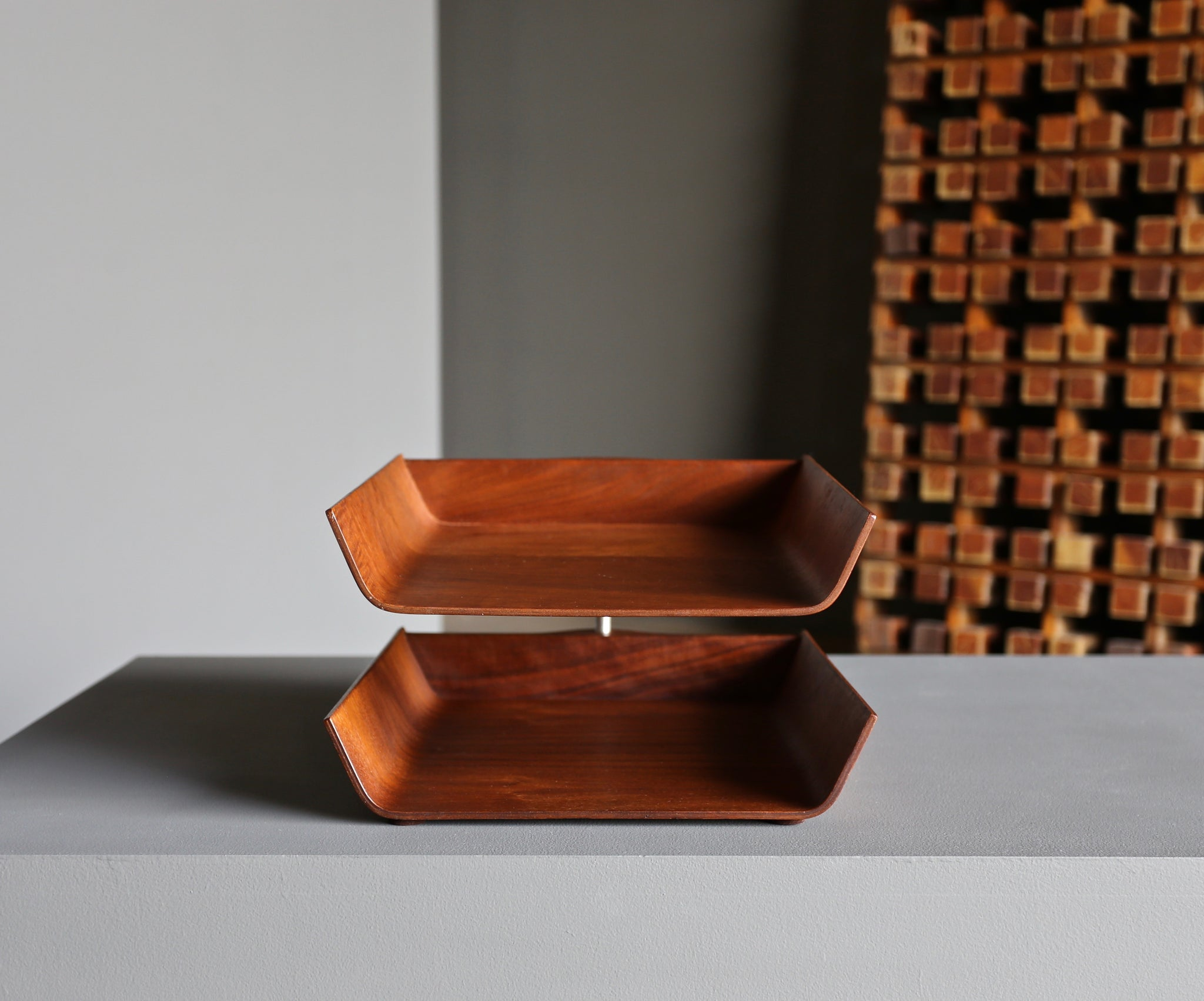 = SOLD = Florence Knoll Molded Plywood Architectural Letter Tray circa 1960