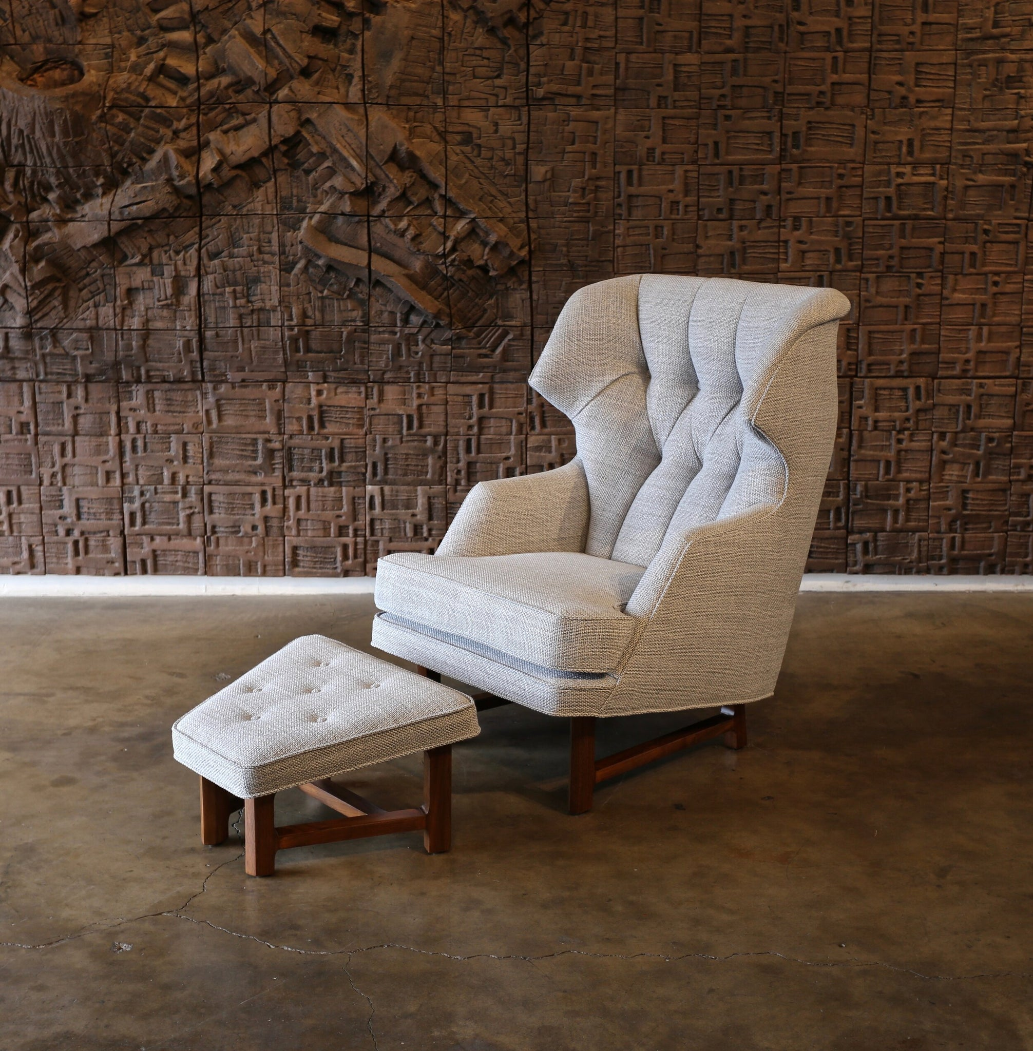 = SOLD = Janus Wing Chair and Ottoman by Edward Wormley for Dunbar circa 1957