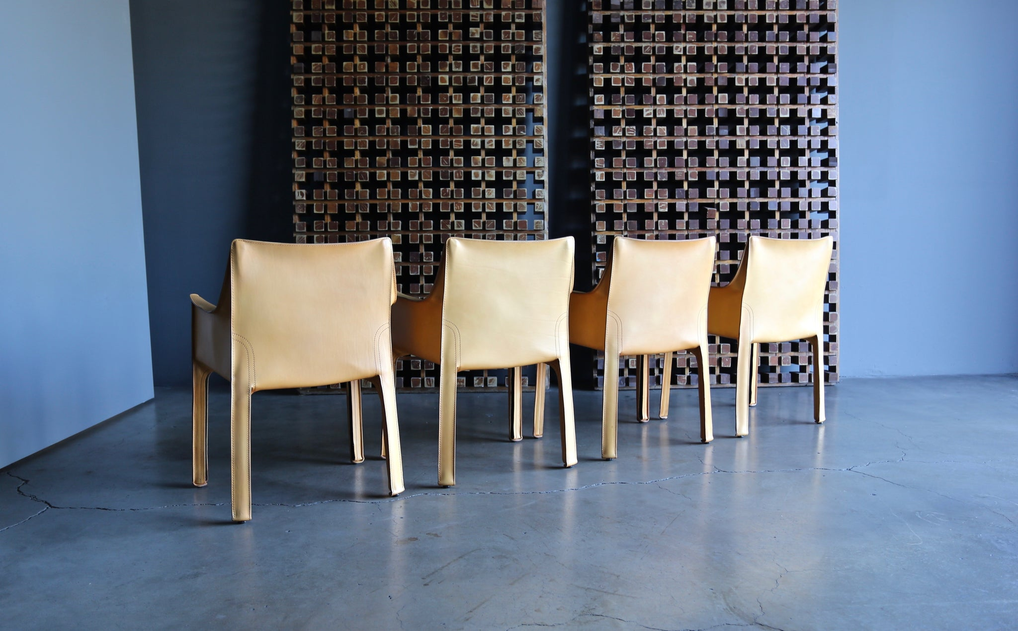 "Mario Bellini Set of Four Leather ""Cab"" Chairs for Cassina"