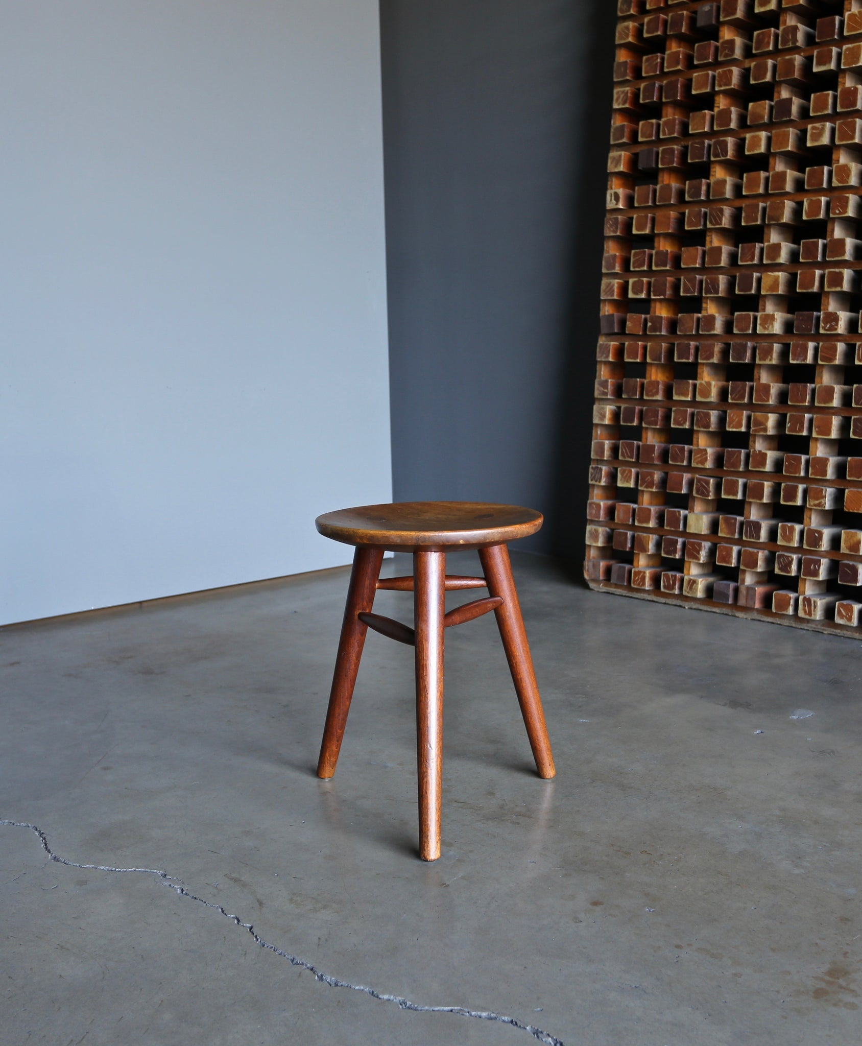 Handcrafted Pair of Tripod Stools circa 1950