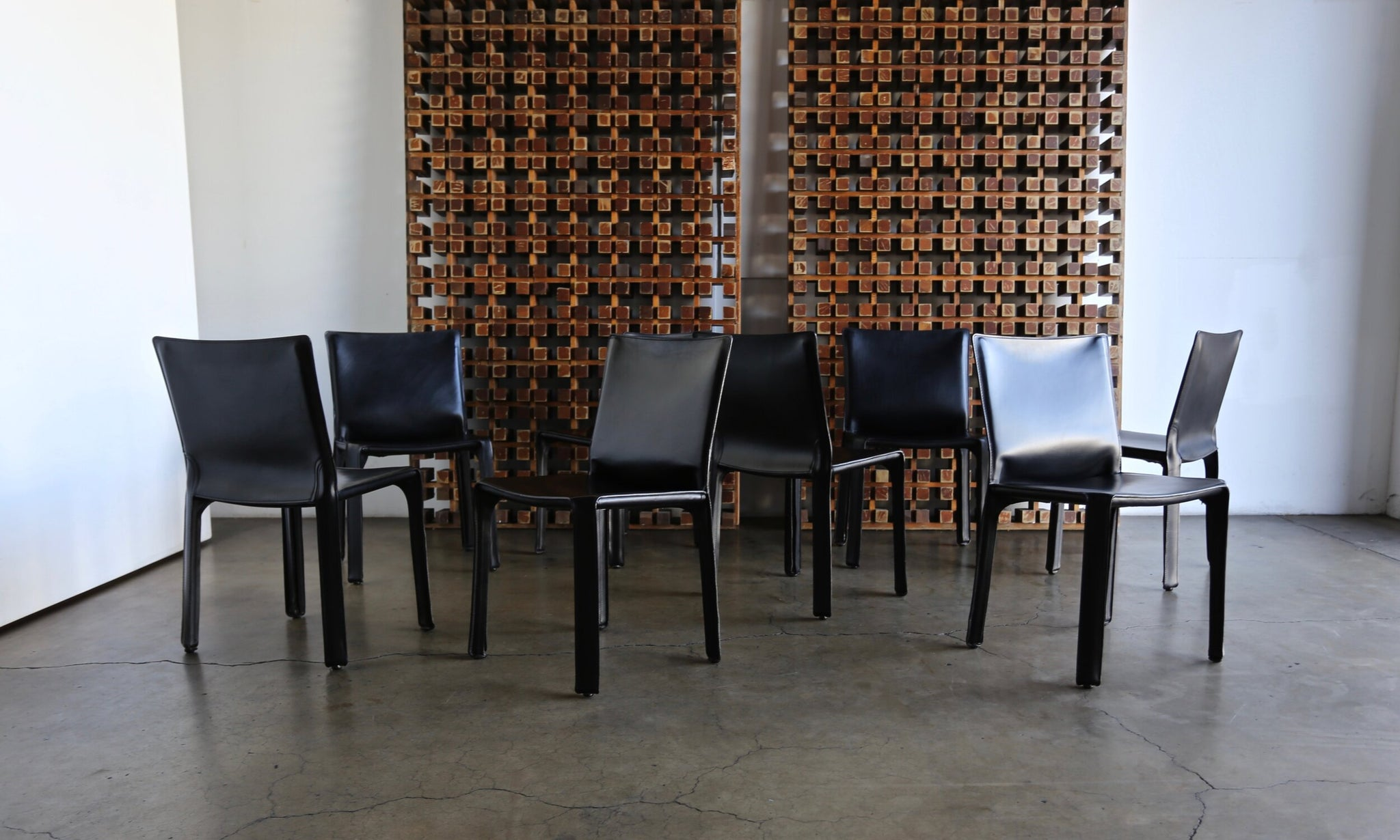 "= SOLD = Mario Bellini Black Leather ""Cab"" Chairs for Cassina"
