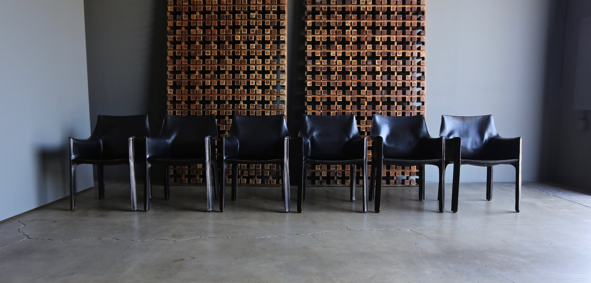 "= SOLD = Mario Bellini Set of Six Black Leather ""Cab"" Chairs for Cassina"