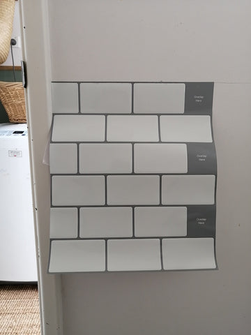 white and grey subway tile