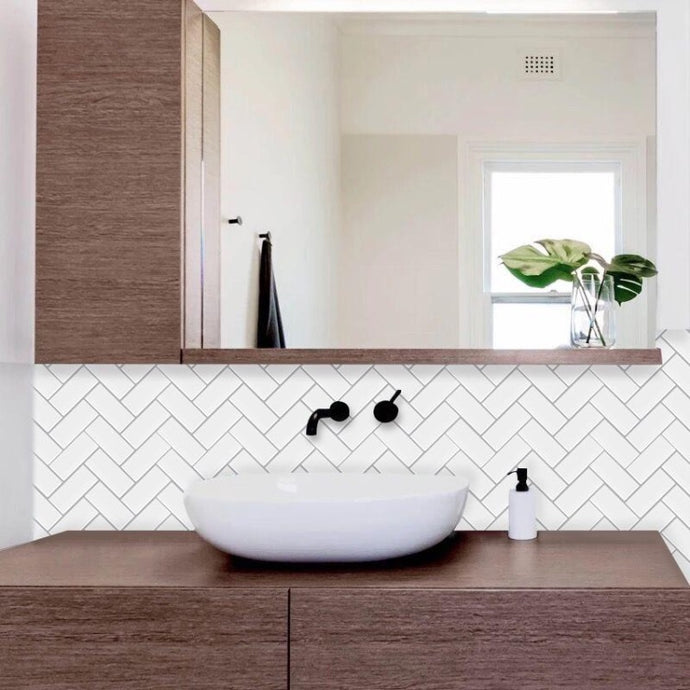 herringbone peel and stick tiles white and grey