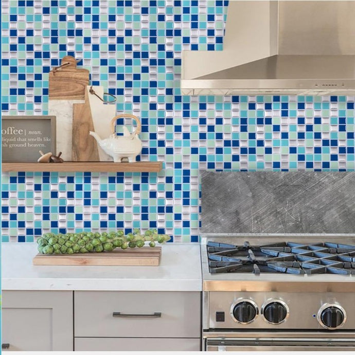 blue square mosaic tile