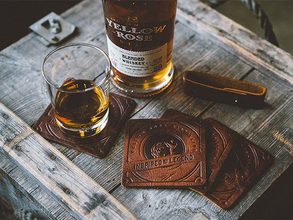 Yellow Rose Distilling Leather Coasters