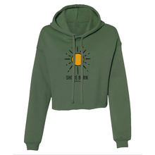 Load image into Gallery viewer, Shore Born Sun Crop Hoodie