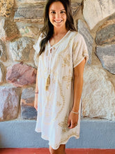 Load image into Gallery viewer, White and Tan Embroidered Dress