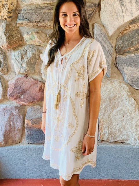 White and Tan Embroidered Dress
