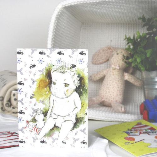 Baby & Bottle Greeting Card