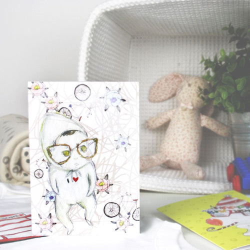 Baby & Glasses Greeting Card