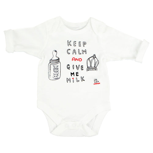 Keep Calm and Give Me Milk Bodysuit