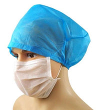 Load image into Gallery viewer, nurse cap hair head protection Booties shoe covers osfa small medium large xlarge x-large xxlarge xx-large latex pvc clear blue disposable bouffant cap nonwoven non-woven