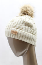 Load image into Gallery viewer, PLUSH-LINED KNITTED HAT WITH POM POM ASSORTED COLORS