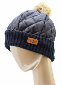 QUILTED PLUSH-LINED BEANIE WITH POM-POM