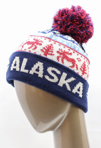 MULTI-COLORED MOOSE SKI HAT WITH POM-POM