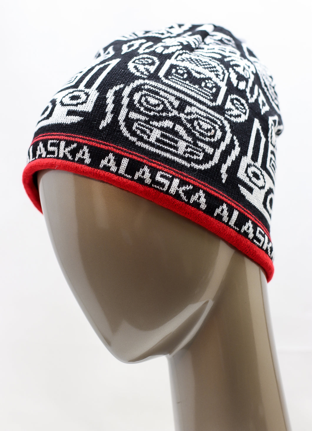 ALASKA TOTEMIC STYLED FLEECE-LINED BEANIE WITH RED STRIPES